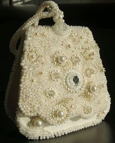 Pearls and cystals bead embroidery