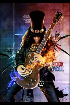 Slash: Rock and Roll! Rock and Roll Heavy Metal Art, Heavy Metal Bands, Guitar Art, Cool Guitar, November Wallpaper, Rock N Roll Music, Rock And Roll Bands, Heavy Rock, Pop Rock