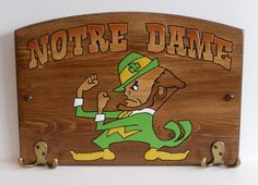 Notre Dame Handcrafted Wood Plaque with Hooks by TeamPlaques4U, $32.95