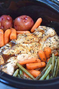 Slow Cooker Honey Garlic Chicken and Vegetables - This easy and healthy Crock Pot dinner is sure to be a family favorite!