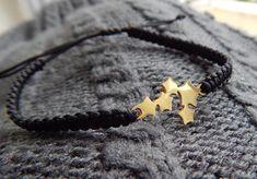 Gold Stars Bracelet Stainless Steel Stars Black Cord Macrame | Etsy Macrame Bracelets, Gold Stars, Black Nylons, Stainless Steel Bracelet, Stocking Stuffers, Lilac, Christmas Ideas, Cord, Burgundy