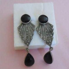 SALE Exquisite Black and Marcasite Fan Pierced Earrings by MICSJWL