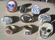 Gerry Wedd - ceramic & sterling silver rings