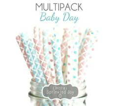 Your place to buy and sell all things handmade Shabby Chic 1st Birthday, Baby Blue Colour, Baby Shower Gender Reveal, Paper Straws, Reveal Parties, Sprinkles, Light Blue, Place Card Holders, Party