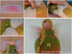 Fairy felted tutorial (waldorf fairy / doll)by TERRA DE CORES - Several lovely felt crafts, in Portugese