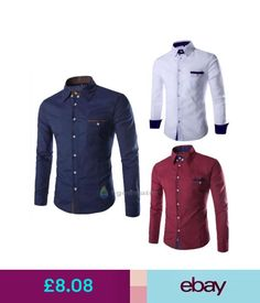 Casual Shirts & Tops Luxury Mens Formal Casual Suit Slim Fit Dress Shirts 3 Colours Long Sleeve Shirt #ebay #Fashion