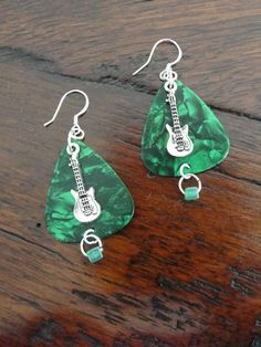 Guitar Picks for Jewelry Making | are fun Green Guitar Pick Earrings with Sterling Silver Guitar Jewelry ...