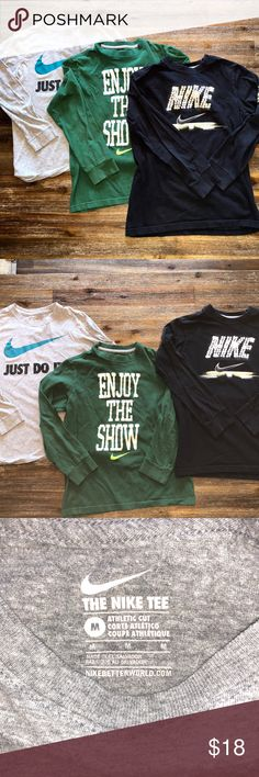 Nike Boys Long Sleeve T-Shirt (Lot of 3) Youth Med Brand: Nike Gender: Boy's Item: Long Sleeve T-Shirts (Lot of 3) Color:  Gray, Green, Black Size: Youth Medium Neckline:  Crew Neck Sleeve Length: Long Sleeve Materials:   Cotton Blend Under Arm to Under Arm Measurement: 15.5 Inches  Length: 21 Inches  Condition: Gently Pre-Owned But In Good Condition! Nike Shirts & Tops Tees - Long Sleeve