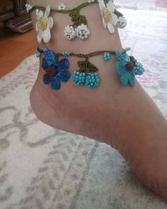 Beach Bracelets, Ankle Bracelets, Hand Embroidery, Embroidery Designs, Hanging Beads, Ankle Chain, Beaded Anklets, Toe Rings, Flowers