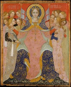 Saint Ursula and Her Maidens, c.1410, Niccolò di Pietro; her symbolic attributes: some of her maiden companions, some holding martyrs' palms; a crown denoting her royal status; banners of Resurrection.