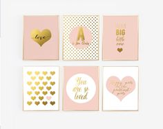 Blush and Gold Prints with personalized name, Set of 6 Nursery Gallery Wall,  Nursery Decor, Pink Girl nursery, Glamour nursery, Faux Foil by StorybirdPrints on Etsy