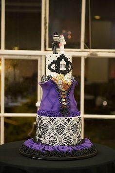 Fun purple corset damask wedding cake!