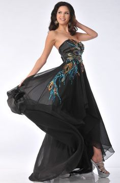 Zeilei 5846 Strapless Peacock Embroidery Evening Prom Pageant DressStrapless black chiffon floor length dress with little back train, hi-low skirt, sweetheart neckline, peacock embroidery bodice with huge rhinestones detail. Fully lined with built in bra.