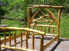 Queen size log bed 031 by dawn21763 on Etsy, $4000.00