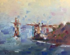"Foggy Golden Gate by Keene Wilson Oil ~ 16"" x 20"""