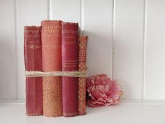 Set of four vintage old books  .  wedding prop by hunterandhope