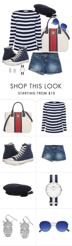 """""""Navy2"""" by doramoleiro ❤ liked on Polyvore featuring Tommy Hilfiger, Converse, Joe's Jeans, Chanel and shorts"""