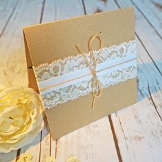 rustic lace kraft pocketfold wedding invite2
