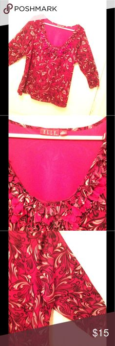 🌺LIKE NEW-Beautiful print,embellished neck 1X Top 3/4 length sleeves that are semi sheer.  Like new. Embellished neckline is feminine with a beautiful print you will love. The colors are stunning. Like new. Elle Tops Blouses