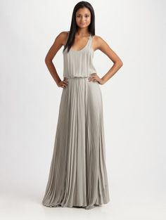 Pleated Maxi Dress - Lyst