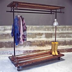 diy hanging clothes rack | Great for indoor or outdoor use, this rolling clothes hanger is built ...