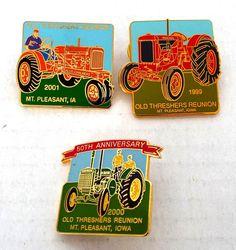 LOT OF 3 OLD THRESHERS REUNION PINBACKS PINS 2999 - 2001 MT PLEASANT IOWA