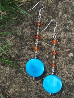 Long Aqua Shell Disc & Agate Earrings Blue And by MadeByMissM