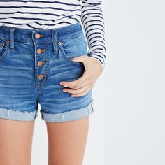 High-Rise Denim Boyshorts: Button-Through Edition : shorts | Madewell