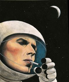 """This is a portrait of David Bowie based on the song """"Bowie's in Space"""" by Flight of the Conchords. He is smoking because that is what David Bowie would/could do if he was in space. Because he is David Bowie."""