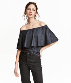 Off-the-shoulder top in thick, patterned jersey with a sheen. | H&M Trend