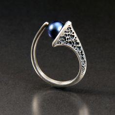 infinity: aleksandra vali: silver & pearl ring - artful home