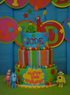 Yo Gabba Gabba - Done to match all the party decor. Very colorful! Cake done in BC with MMF accents. Characters store bought. TFL!