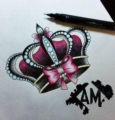 Rose Tattoos, Body Art Tattoos, Tattoo Drawings, Tatoos, Queen Tattoo, Princess Tattoo, Barbie Tattoo, Los Mejores Tattoos, Gem Tattoo