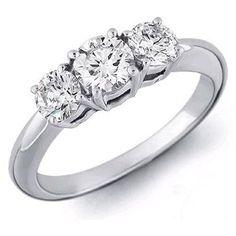 Anillo de diamantes AN001. Sortija tresillo de brillantes via Polyvore