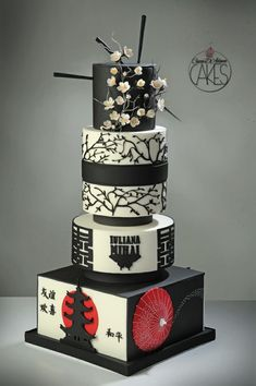My Fave Japanese Themed Cake Ever - Japan cake - Cake by D'Adamo Cinzia Pretty Cakes, Beautiful Cakes, Amazing Cakes, Unique Cakes, Creative Cakes, Fondant Cakes, Cupcake Cakes, Shoe Cakes, Japan Cake