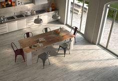 Gres porcellanato effetto legno rustico serie Timber, formato 15x90, 5 colori (white, grey, gold, black, brown) disponibili In foto: ambientazione realizzata con TIMBER GREY