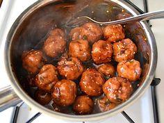 glaze coated meatballs