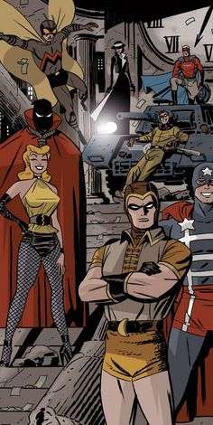 Nite Owl, Silk Spectre, Silhouette, Hooded Justice, Dollar Bill, Mothman, Captain Metropolis, and the Comedian. Before Watchmen there were the Minute men.