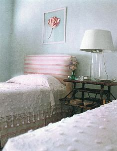 Charleston house. Bedroom.   Pink striped headboard & bed skirt plus candlewicking bedspread.  by Tom Scheerer. for more http://tomscheerer.com/ also flickr