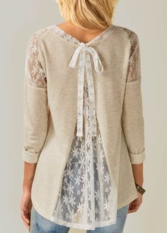 Sleeve Lace Panel Tie Back Beige Blouse with cheap wholesale price, buy Lon.- Sleeve Lace Panel Tie Back Beige Blouse with cheap wholesale price, buy Lon. Sewing Clothes Women, Diy Clothes, Look Fashion, Trendy Fashion, Womens Fashion, Cheap Fashion, Trendy Style, Ladies Fashion, Trendy Tops For Women