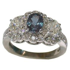 Natural Alexandrite Rings | Natural 1 Carat Oval Alexandrite surrounded by 0 57 Carats of Diamonds ...