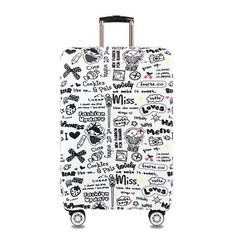 Travel Luggage Cover Day Of The Dead Alphabet Suitcase Protector Fits 26-28 Inch Washable Baggage Covers