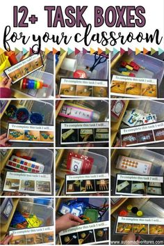TEACCH Task Box ideas for a special education program or autism classroom Autism Activities, Autism Resources, Classroom Activities, Classroom Organization, Classroom Setup, Sorting Activities, Classroom Management, Life Skills Classroom, Autism Classroom