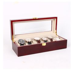 54.01$  Watch now - http://ali578.worldwells.pw/go.php?t=32780812284 - Fashion Case 6 Bits Piano Paint MDF Horloge Watch Box Vintage Display Watch Gift Storage Relojes Jewelry Boxes Newly Organizador