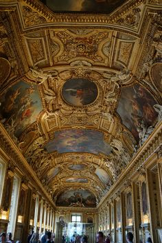 Ceiling of Apollo Gallery at Louvre Museum in Paris, France (by eric). -