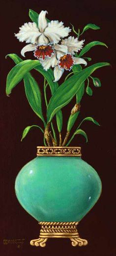 Ginger Jar with Orchids I, an original oil painting by artist Janet Kruskamp. A bulbous jade colored jar sitting on a banded bottom with cla...