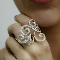 """Rococco"" Diamond Two Finger Ring - Plukka - Shop Fine Jewelry Online"