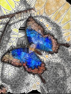 Blue Butterfly Stained Glass. A blue Ulysses Butterfly at London's Natural History Museum. Photograph edited to give the appearance of an intricate stained glass mosaic. Purchase from:  https://mo-barton.pixels.com/