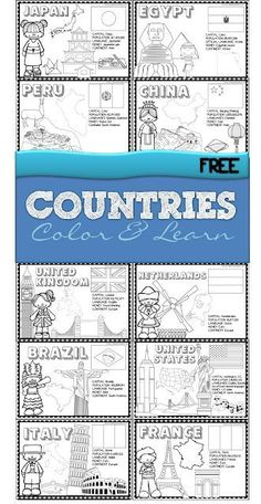 Countries - FREE printable color and learn about 18 countries from all around the world - use as coloring sheets or make a book for preschool, kindergarten, grade, grade, grade Geography Activities, Geography For Kids, World Geography, 2nd Grade Geography, Geography Quotes, Continents Activities, Geography Lesson Plans, Teaching Geography Elementary, Learning Activities