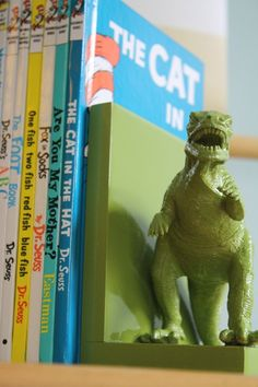 DIY plastic animal bookends. Don't like the dino's, but with something different this is a cool idea!